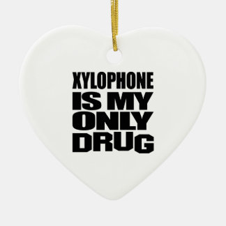 XYLOPHONE IS MY DRUG Double-Sided HEART CERAMIC CHRISTMAS ORNAMENT