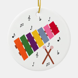 Xylophone Multicolored Musical Instrument Cartoon Double-Sided Ceramic Round Christmas Ornament