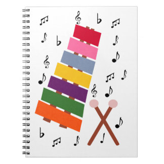 Xylophone Multicolored Musical Instrument Cartoon Spiral Note Book