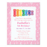 Xylophone Music Themed Birthday Party 4.25x5.5 Paper Invitation Card
