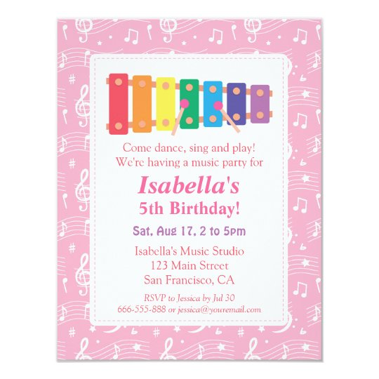 Xylophone music themed birthday party invitation zazzle xylophone music themed birthday party invitation filmwisefo