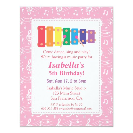 Xylophone Music Themed Birthday Party Invitation