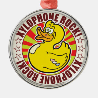 Xylophone Rock Duck Round Metal Christmas Ornament