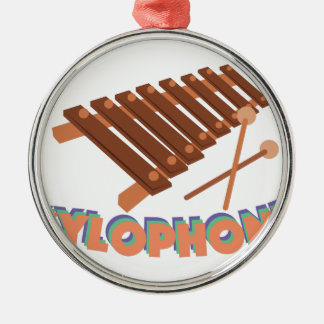 Xylophone Round Metal Christmas Ornament