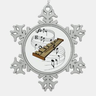 Xylophone Snowflake Pewter Christmas Ornament