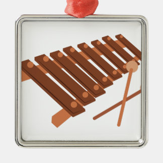 Xylophone Square Metal Christmas Ornament