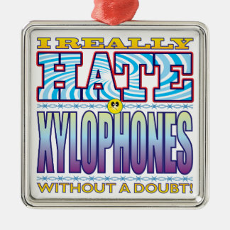 Xylophones Hate Face Square Metal Christmas Ornament