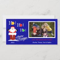 Y1 Ho Ho Ho-Blue Xmas Photo Holiday Cards