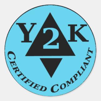 Y2k certificado obediente etiquetas redondas