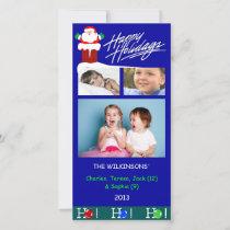Y3-Ho Ho Blue Christmas Holiday Photo Cards
