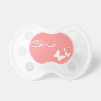 Y blanca bebé personalizado mariposa rosada Pacife Chupete
