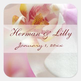 Y blanca boda personalizado orquídea rosada pegatina cuadrada