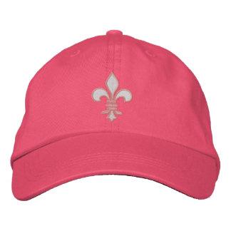 Y blanca gorra bordado flor de lis rosada gorra de beisbol