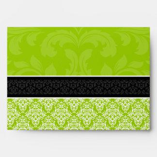 Y blanco de la verde lima A7 sobres alineados dama