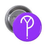 ¿Y? Blanco del símbolo en púrpura Pins