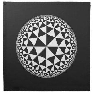 Y blanco mandala llenada triángulo negro servilleta