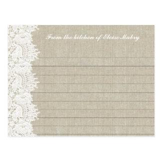 Y blanco tarjetas personalizadas cordón de lino de postales
