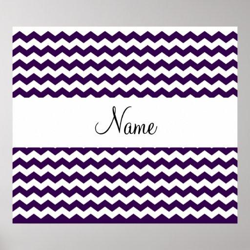 Y blancos nombre personalizado galones púrpuras poster