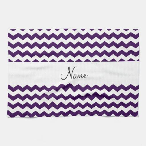 Y blancos nombre personalizado galones púrpuras toallas de cocina