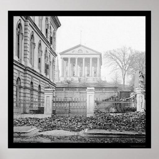 Y capitolio de aduanas en Richmond, VA 1865 Póster