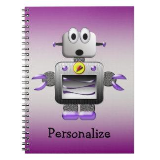 Y de plata cuaderno personalizado robot púrpura