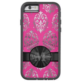 Y de plata monograma personalizado damasco rosado funda tough xtreme iPhone 6