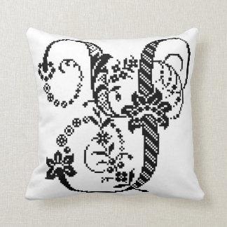 Y Decorative Pixel Monogram with Chevron Pillow