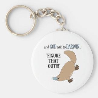 Y dios dijo a Darwin…. Llavero Redondo Tipo Pin