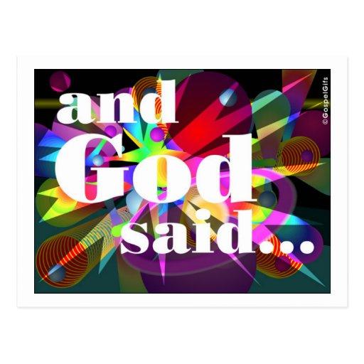 y dios dijo el regalo cristiano postal