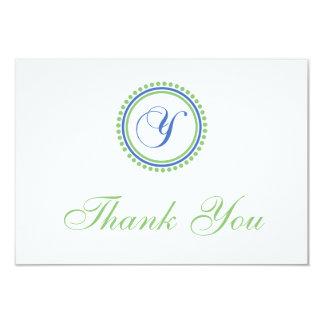 Y Dot Circle Monogam Thank You Cards (Blue / Mint)