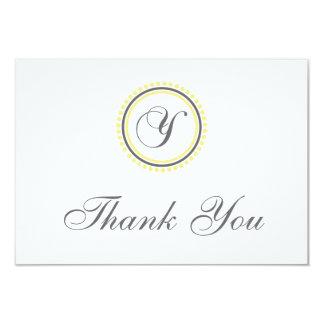 Y Dot Circle Monogam Thank You Cards (Yellow/Gray)