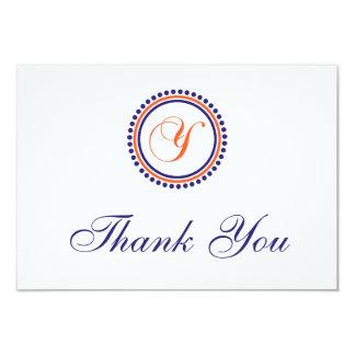 Y Dot Circle Monogam Thank You (Orange/Navy Blue) Card