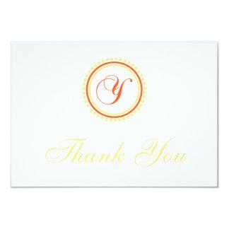 Y Dot Circle Monogam Thank You (Orange / Yellow) Card