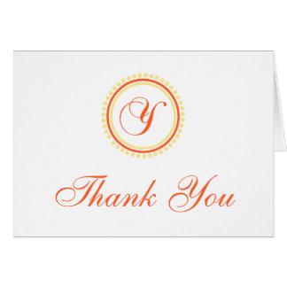 Y Dot Circle Monogam Thank You (Orange / Yellow) Card