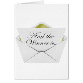 Y el ganador es sobre tarjeta de felicitación