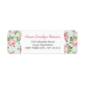 Y elegante femenino floral subió vintage etiquetas de remite