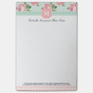 Y elegante floral subió vintage lamentable persona post-it notas