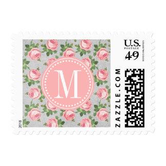 Y elegante floral subió vintage lamentable sello
