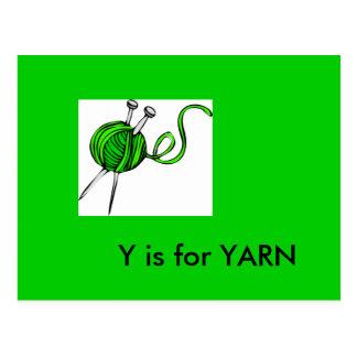"""""""Y"""" está para el alfabeto Flashcard del hilado Tarjeta Postal"""