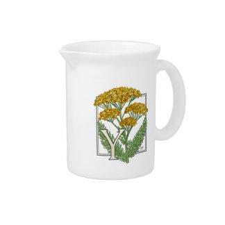 Y for Yarrow Floral Art Alphabet Monagram Beverage Pitcher