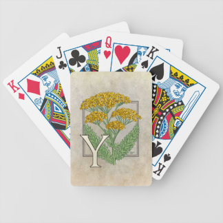 Y for Yarrow Floral Art Alphabet Monagram Bicycle Playing Cards