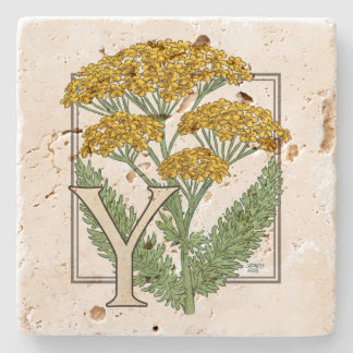 Y for Yarrow Floral Art Alphabet Monagram Stone Coaster