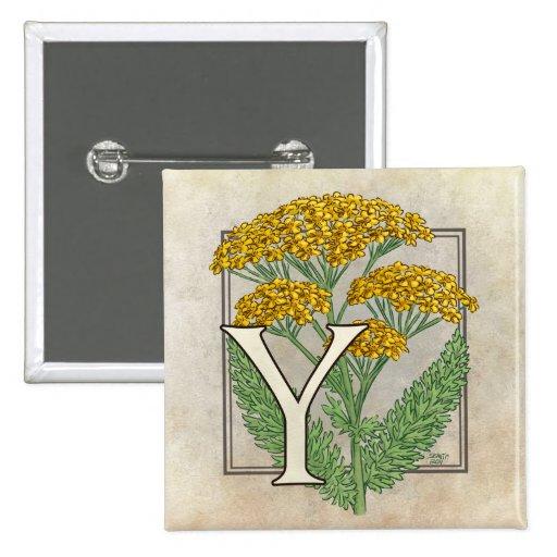 Y for Yarrow Flower Monogram Button