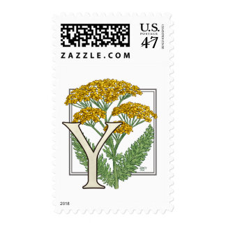 Y for Yarrow Flower Monogram Postage