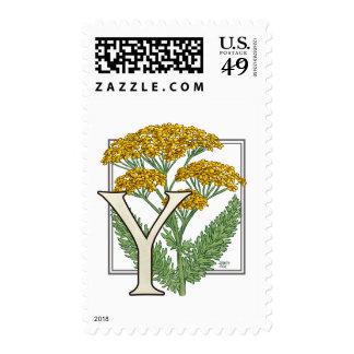 Y for Yarrow Flower Monogram Postage Stamp
