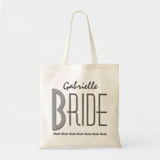 Y gris novia personalizada nombre de encargo negro bolsa tela barata
