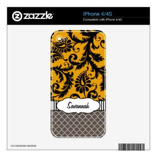 Y gris piel personalizada damasco amarillo del skin para el iPhone 4S