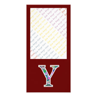 Y Illuminated Monogram Photo Greeting Card