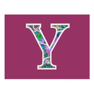 Y Illuminated Monogram Postcard