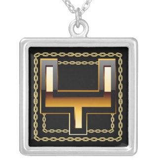 Y- Initial  Monogram Letter Square Pendant Necklace